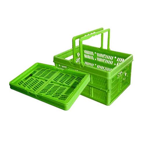 پلاسٹک فولڈنگ۔ خریداری ٹوکری کے ساتھ ہینڈلز